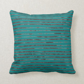 Teal Black Charcoal Grunge Stripes Cushion