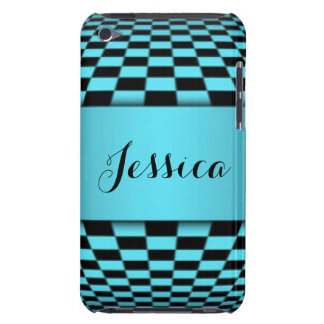 Teal Black Checker Board Pattern Print Design iPod Touch Case-Mate Case