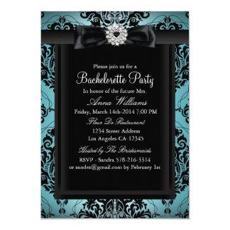 Teal & Black Chic Damask Bachelorette Party 13 Cm X 18 Cm Invitation Card