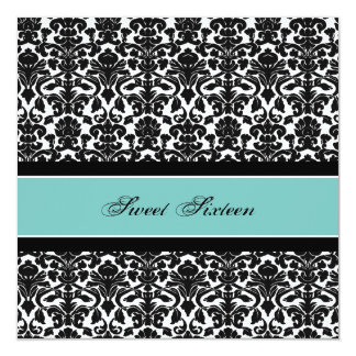 Teal Black Damask 16th Birthday Party Invitations