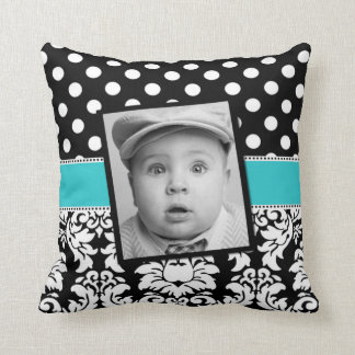 Teal Black Damask Dots Photo Pillow