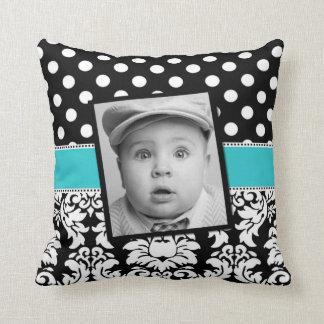 Teal Black Damask Dots Photo Pillow Throw Cushions