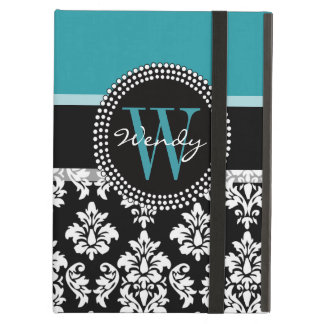 Teal, Black Damask Your Initial, Your Name iPad Folio Cases