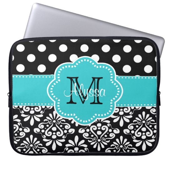 Teal Black Dots Damask Personalised Computer Case