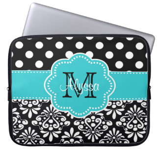 Teal Black Dots Damask Personalized Computer Case Laptop Sleeve