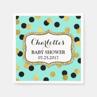 Teal Black Gold Confetti Baby Shower Disposable Napkin