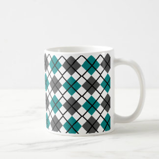 Teal, Black, Grey on White Argyle Print Mug