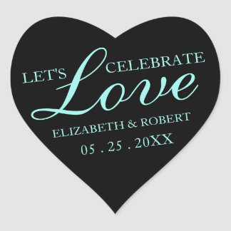 Teal + Black Heart - Wedding Invitation Stickers
