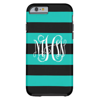 Teal Black Horiz Stripe #3 Vine Script Monogram Tough iPhone 6 Case