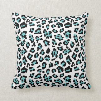Teal Black Leopard Animal Print Pattern Cushion