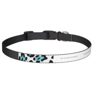 Teal Black Leopard Animal Print Pattern Pet Collar
