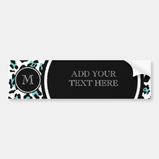 Teal Black Leopard Animal Print with Monogram Bumper Stickers