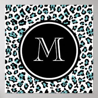 Teal Black Leopard Animal Print with Monogram