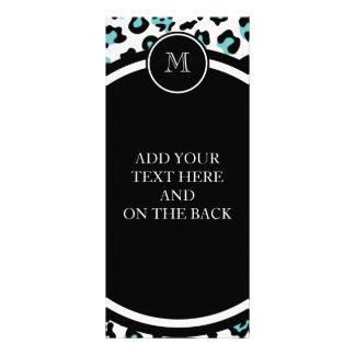 Teal Black Leopard Animal Print with Monogram 10 Cm X 23 Cm Rack Card