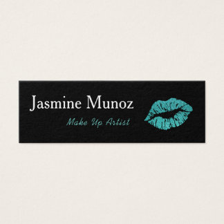 Teal & Black Make Up Artist LipStick Kiss Mini Business Card
