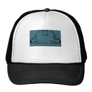 Teal & Black Monogram Filigree Hats