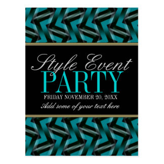 Teal Black  Office Party Invitation Cards Postcard