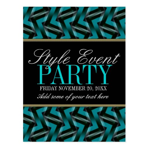 Teal Black  Office Party Invitation Cards Post Cards