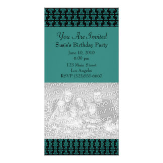 Teal Black Pattern Party Photo Card Template
