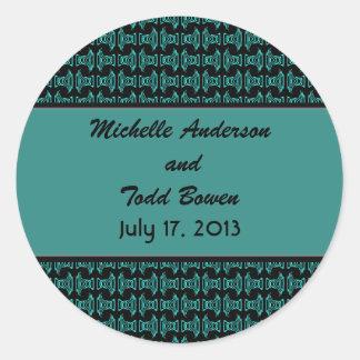 Teal Black Pattern Wedding Round Sticker