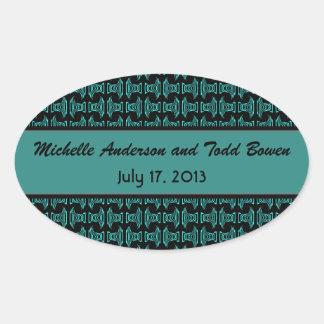 Teal Black Pattern Wedding Oval Sticker