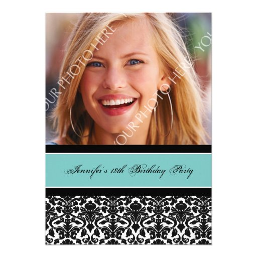 Teal Black Photo 18th Birthday Party Invitations