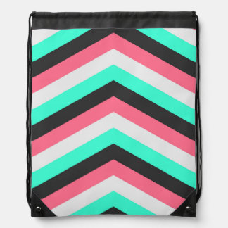 Teal Black Pink and Aqua Hipster Stripes Drawstring Bag