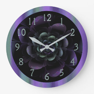Teal Black Purple Floral Large Clock