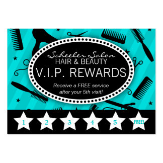 Teal & Black Salon Loyalty Business Cards