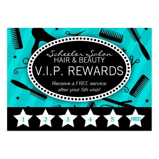 Teal & Black Salon Loyalty Business Cards