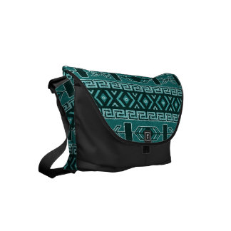 Teal Black Tribal Aztec Pattern Southwest Bag Commuter Bag