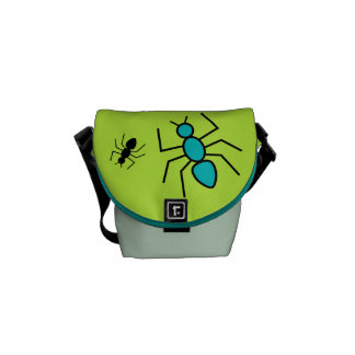 Teal & Black Vector Ants (Green Background) Messenger Bags