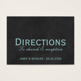 Teal Black Wedding Directions Card