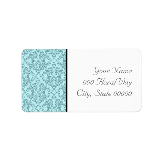 Teal Black White Damask Wedding Address Lables Label