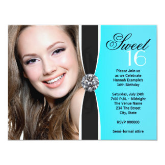 Teal Black White Photo Sweet 16 Birthday Party Announcement