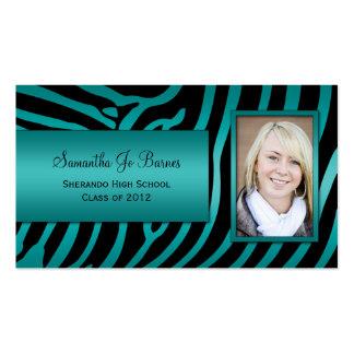 Teal Black Zebra Graduation Handouts Pack Of Standard Business Cards