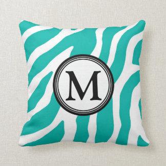 Teal Black Zebra Monogram Decorative Pillow