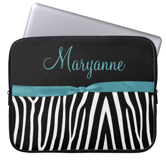 Teal Black Zebra Teal Ribbon Monogram Laptop Sleeve