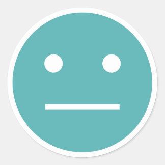 Teal blank face emoji round sticker