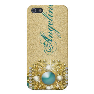 Teal bling gems monogram name case for the iPhone 5
