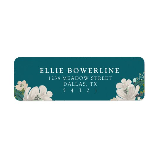 Teal Blooms Return Address Label