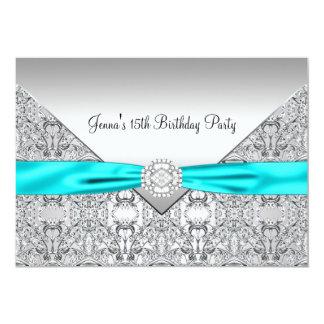 Teal Blue 15th Quinceanera Birthday 13 Cm X 18 Cm Invitation Card