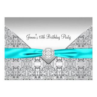 Teal Blue 15th Quinceanera Birthday Custom Announcement