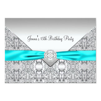 Teal Blue 15th Quinceanera Birthday Custom Announcement