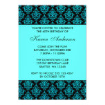 Teal Blue and Black Damask 40th Birthday Party 13 Cm X 18 Cm Invitation Card