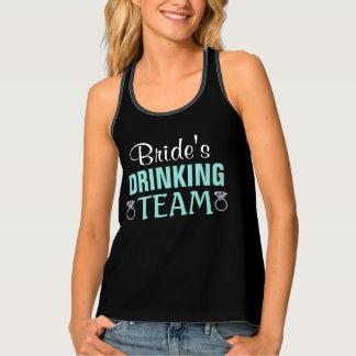 Teal Blue And Black Wedding Bride's Team Tank Top