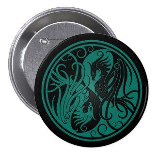Teal Blue and Black Yin Yang Phoenix Pinback Buttons