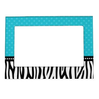 Teal Blue and Black Zebra Polka Dot Magnetic Picture Frame