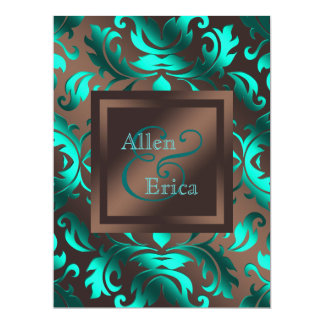 Teal Blue and Chocolate Brown Wedding 17 Cm X 22 Cm Invitation Card