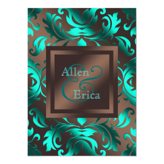 """Teal Blue and Chocolate Brown Wedding 5.5"""" X 7.5"""" Invitation Card"""